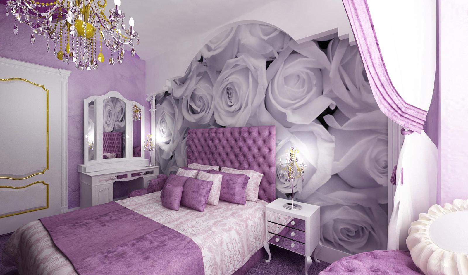 Дизайны комнат в лиловом цвете